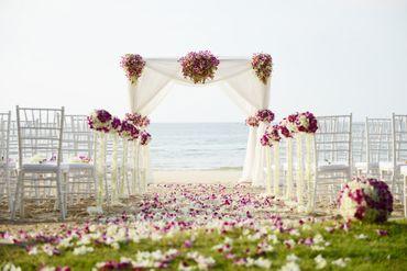White outdoor wedding ceremony decor