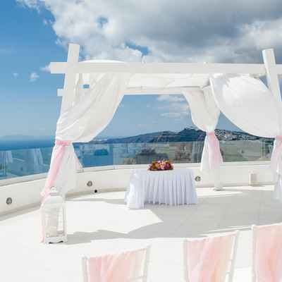 White outdoor wedding ceremony decor