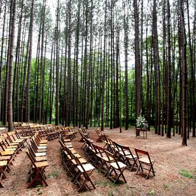 Brown outdoor wedding ceremony decor