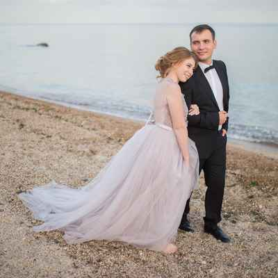 Purple beach long wedding dresses