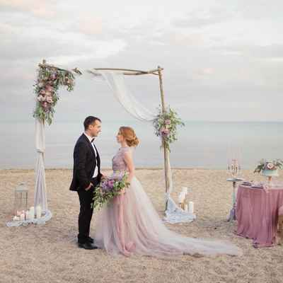 Blue beach long wedding dresses