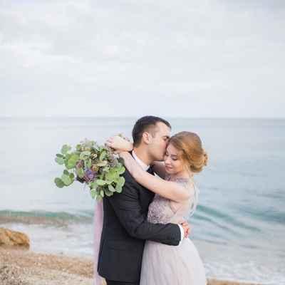 Blue beach long wedding dresses