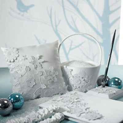 Winter white wedding ceremony decor