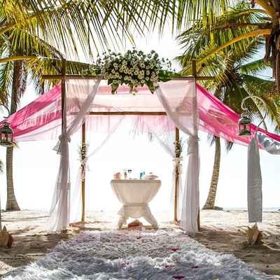 Overseas pink wedding ceremony decor