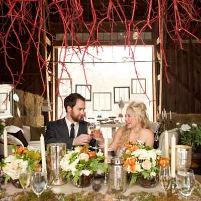 Rustic autumn wedding reception decor