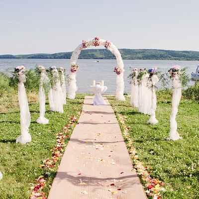 Beach summer wedding ceremony decor
